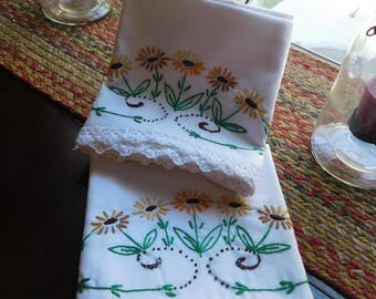 Folk Daisy Vintage Pillowcases