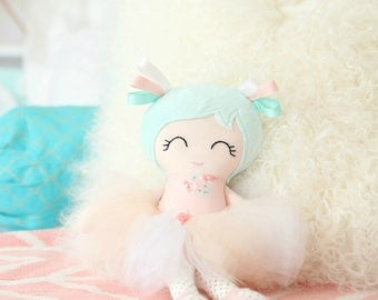 Personalised Handmade Cloth Doll - Ballerina Doll - Tutu Doll - Fabric Doll - Rag Doll - First Birthday - Blush and Mint - Made to Order