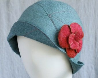 Reversible Cloche in Verdigris and Light Turquoise Felted Wool w/Removable Flower Pin - Flower Cloche - Wool Felt Hat - Wool Cloche