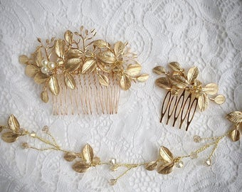 Gold Bridal Hair Comb, Crystal, Pearl Hair Comb, Gifts for Her, Gold Leaf Comb, Bridal Comb, Boho Hair Comb, Large Comb 1 (G)