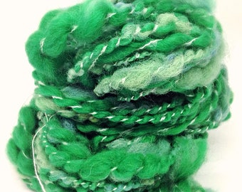 Handspun yarn - hand spun green yarn - Shamrock - bulky knitting yarn