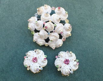 Vintage Signed Cellini Brooch and earring set white enamel shells RARE AB496