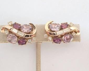 Trifari patent pending earrings purple and lavender AB213