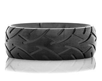 Men's Blacked Out Tire Tread Ring