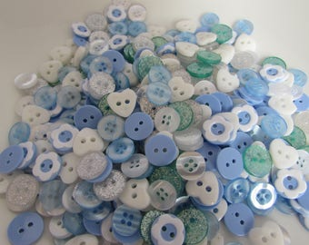 Small Blue, White and Green Buttons