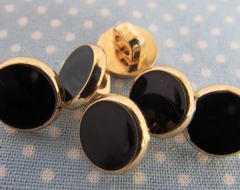 1cm Black and Gold Dress Shirt Buttons
