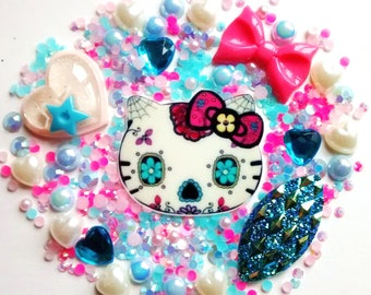 Day of the dead kitty decoden set - kawaii - phone case - hair accessories - scrapbooking - cabochons - jewellery making - craft supplies