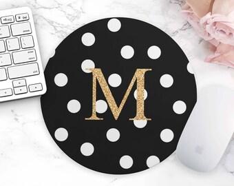 Dot Black Mouse Pad, Personalized Mouse Pad, Monogram Mouse Pad, Cute Desk Accessories, Gold Mouse Pad, Polka Dot, Dorm Decor, Office Decor