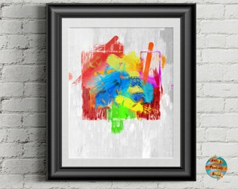 Squared Chaos #2, abstract art, digital artwork, Printable poster, Wall art decor