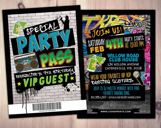 Hip Hop, Swagger, VIP PASS, backstage pass, Vip invitation, birthday invitation, pop star, lanyard, Fresh Prince, birthday, DJ, 90s party