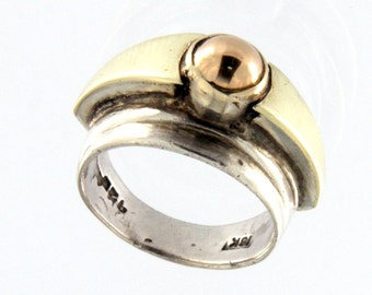 Sterling Silver 18k Rose Gold Fahion Ring