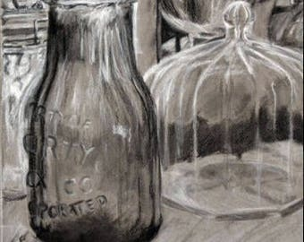 Antique Bottles Drawing