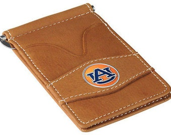 Auburn Tigers Tan Leather Wallet Card Holder