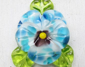 Blue lampwork pansy, glass lampwork bead by Inna Kirkevich, handmade artisan glass beads, beads for jewelry
