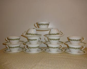 2 Cups 2 Saucers Corelle Spring Blossom Green Saucers and Teacups SALE