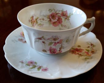 Limoges France Pink Floral Teacup and Saucer Porcelaine LaFarge L & C Limoges