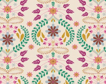 Embroidery's Fortune Rose - Art Gallery Fabrics, Ruby Spirit Collection