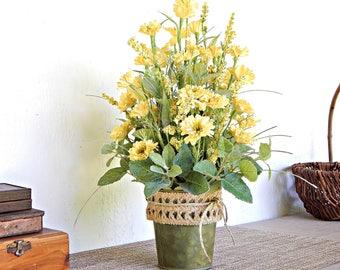 Yellow Flower Arrangement, Wild Flowers, Wildflower Arrangement, Summer Decor, Artificial Flowers, Country Floral Centerpiece