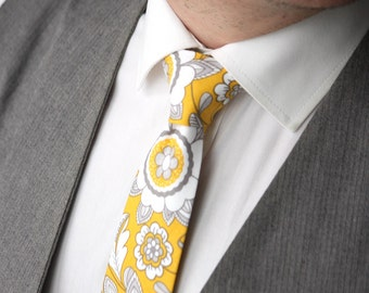 Mens Tie Yellow Floral tie Handmade Cotton Men's necktie TC235 Men Neckties Wedding Formal Suit