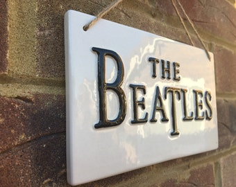 THE BEATLES-Wall Art-Ceramic Plaques-Music Sign-Gifts for him-Beatles Fan-British Bands,John Lennon-Paul Mccartney-Abbey Road-London Streets