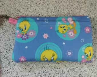 Handmade Tweety Bird Design Print Wallet Wristlet Phone Case with strap