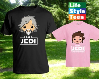 I am a Jedi Caucasian Cartoon, Luke Rey Skywalker, Matching Father Son Shirts,Christmas Gifts, Fathers Day Gift Idea, Bodysuit CT-1216-1217