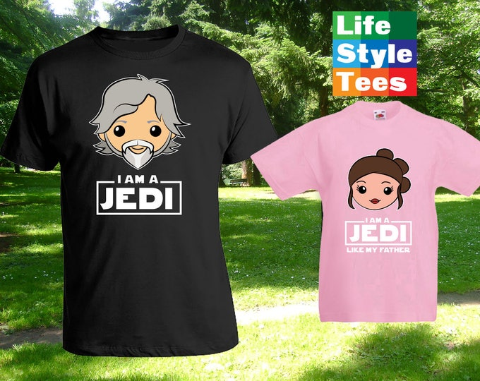 Featured listing image: I am a Jedi Caucasian Cartoon, Luke Rey Skywalker, Matching Father Son Shirts,Christmas Gifts, Fathers Day Gift Idea, Bodysuit CT-1216-1217