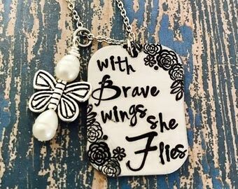 Butterfly - With brave wings she flies necklace - freshwater pearl - butterfly charm - loss - engraved - memorial - graduation - gift