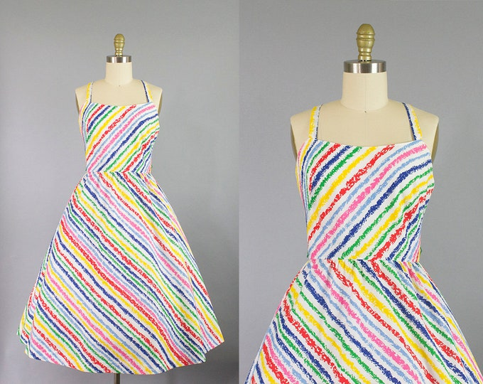 1960s Lanz sundress/ 60s crayon novelty print dress/ small