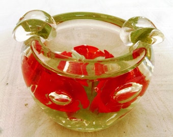 Vintage Hand Blown Unmarked St. Clair Ashtray Paperweight With Red Flowers