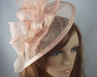 Nude Pink Teardrop Sinamay Fascinator with Feathers - Wedding Races Special Occasion Hat