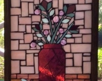 Stained Glass Mosaic Window Hanging/  Sun Catcher/ Flowers/ Mason Jar/ Glass on Glass/ Lavender