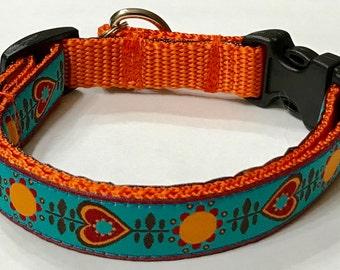 Dog Collar: New Jacquard Turquoise/Pumpkin Hearts/Flowers Ribbon Designer Dog Collar, Pet Supply, Pet Gift,Gorgeous, Veterinary Gift