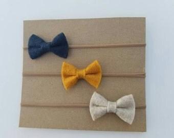 nylon felt bow headbands - set of 3 - baby girl headbands - navy blue felt bow - mustard yellow felt bow - oatmeal felt bow