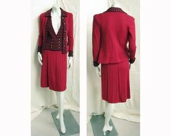 Vintage 1980s ADOLFO 3-Piece Suit Red Knit Jacket, Vest & Skirt with Black Stripe Trim