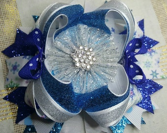 Frozen/Winter wonderland stacked boutique bow with lined alligator clip