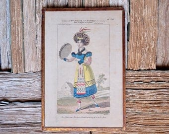 1810 French antique framed hand painted engraving Hautecoeur Martinet Paris, Ballet Costume Astolphe et Joconde, antique wallpaper