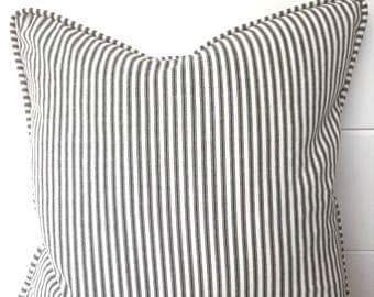 Magnolia Stripe French Ticking Decorative Pillow Cover with Piping and Envelope Closure