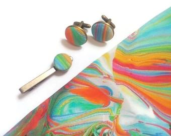 for men gift idea daddy birthday gift dad aquarel cuff links rainbow tie clips pride bow tie watercolor mens tie rainbow pocket square djfh6