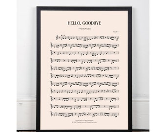 Hello, Goodbye, The Beatles, bedroom art, Printable art poster, kitchen art, bar art, INSTANT DOWNLOAD, sheet music, studio art, 60s