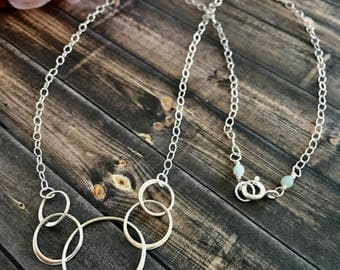Delicate Sterling Silver Interlocking Circles Necklace, Spiritual Jewelry, Sterling Silver Necklaces, Chain Necklaces, Gift Ideas for Her