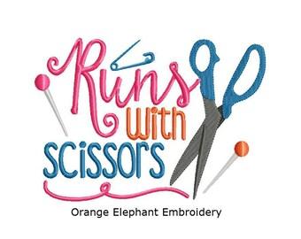 Scissors Sewing Runs With Scissors Unique Urban Machine Embroidery Design digital File
