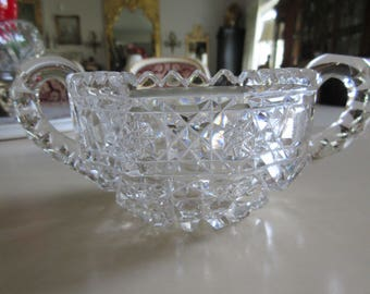 CUT GLASS SUGAR Bowl with Handles