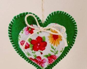 Stuffed hanging heart, floral heart, felt heart, felt hanging heart, felt stuffed heart, felt hanging heart, felt heart ornament