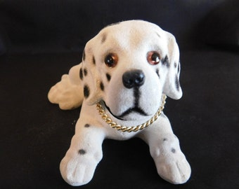 Vintage Dalmatian Flocked Nodder/Bobblehead Figurine - Vintage Dog Figurines, Animals, Canine, Bobbleheads, Dalmatian Dog
