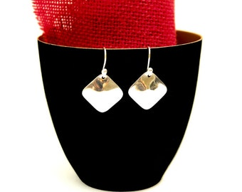 Sterling Silver Earrings - Square Design Earrings - Silver Domed Earrings
