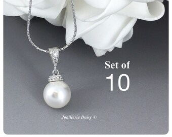 Set of 10 Swarovski Necklace Bridesmaid Gifts Bridesmaid Jewelry Gift for Her Necklace Jewelry Wedding Jewelry Gift for Her Bridal Necklace
