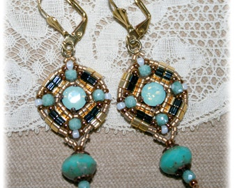Loops Collection Antique earrings, gold and Turquoise, inspiration medieval, renaissance