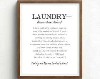 Laundry Print, Laundry Definition, Black and White, Laundry Room Art