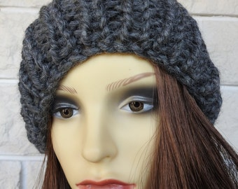 Hand Knitted Dark Grey Winter Hat With A Black Pompom - Free Shipping